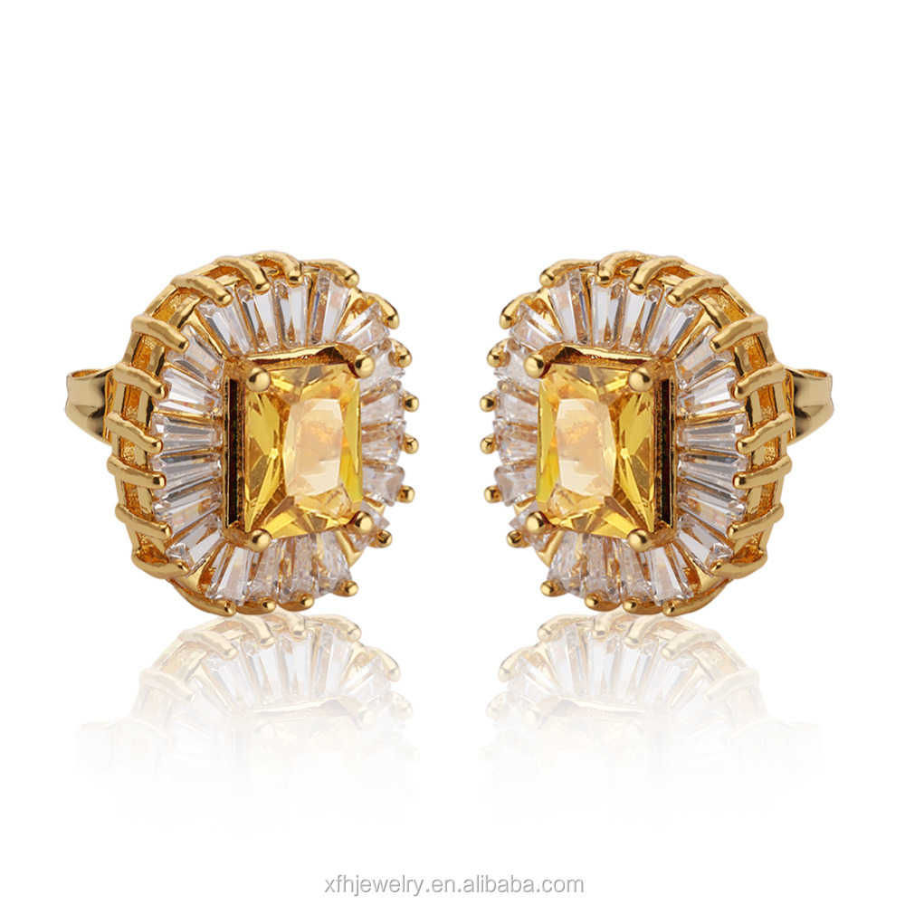 Golden light Gold Plated Stud Earrings with AAA+ diamond for women's