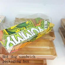 New pattern hot dog sandwich packaging box food grade