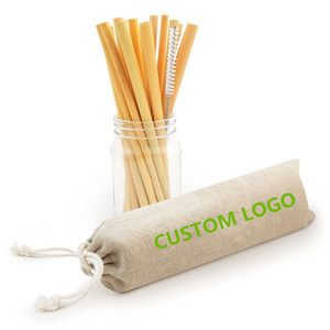 Logo Customized Reusable Bamboo Drinking Straws with Cleaning Brush  Biodegradable Straws Eco Friendly