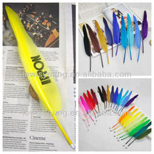 Beautiful style feather quill ballpoint pen in exporting quality