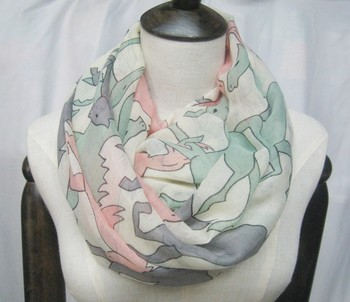 Stock Style !!! 2015 New Fashion Women's Voile Horse Printed Infinity Scarf 180cm*90cm