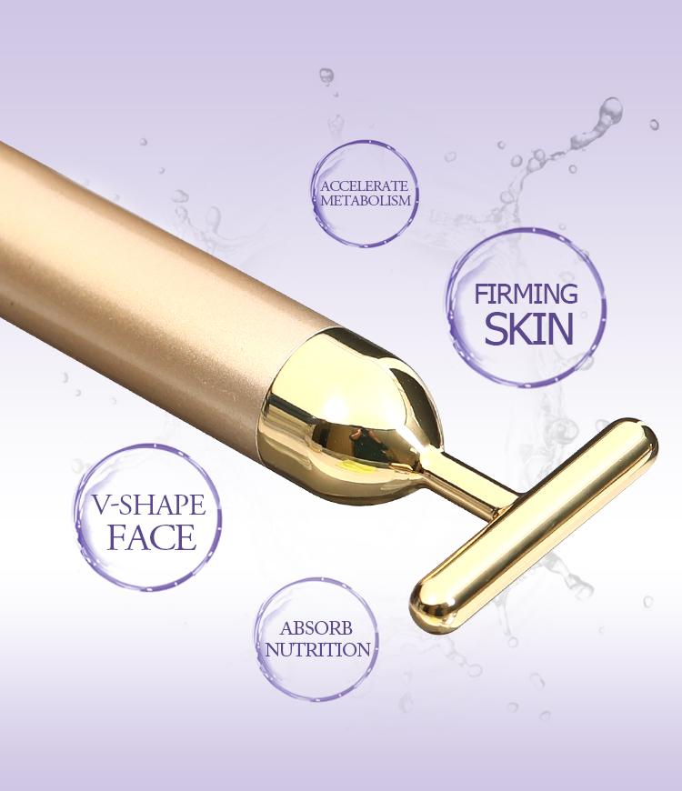 Japan Thin Face facial massage vibrator t shape beauty bar 24k golden pulse facial 24k gold t shaped face slimming beauty bar