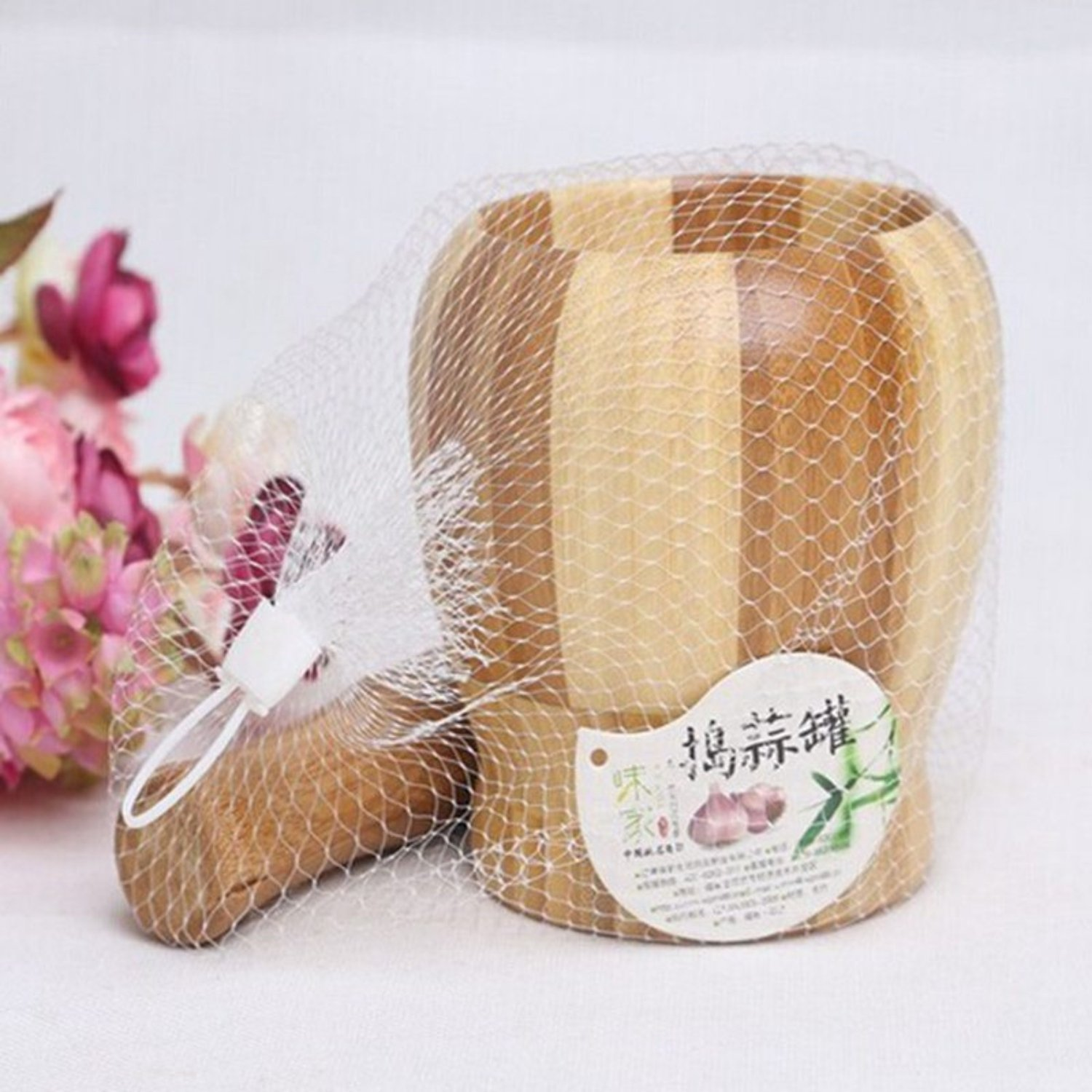 Natural Living Bamboo Garlic Mortar And Pestle With High Quality