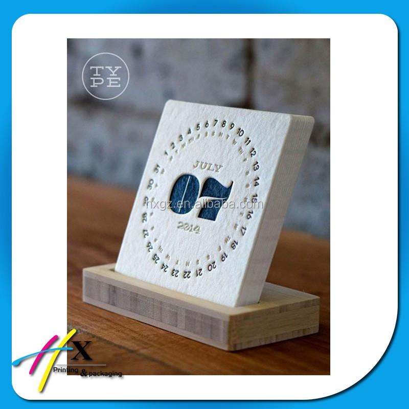 Calendar Wood Stand : Wholesale high quality embossed hard cardboard calendar