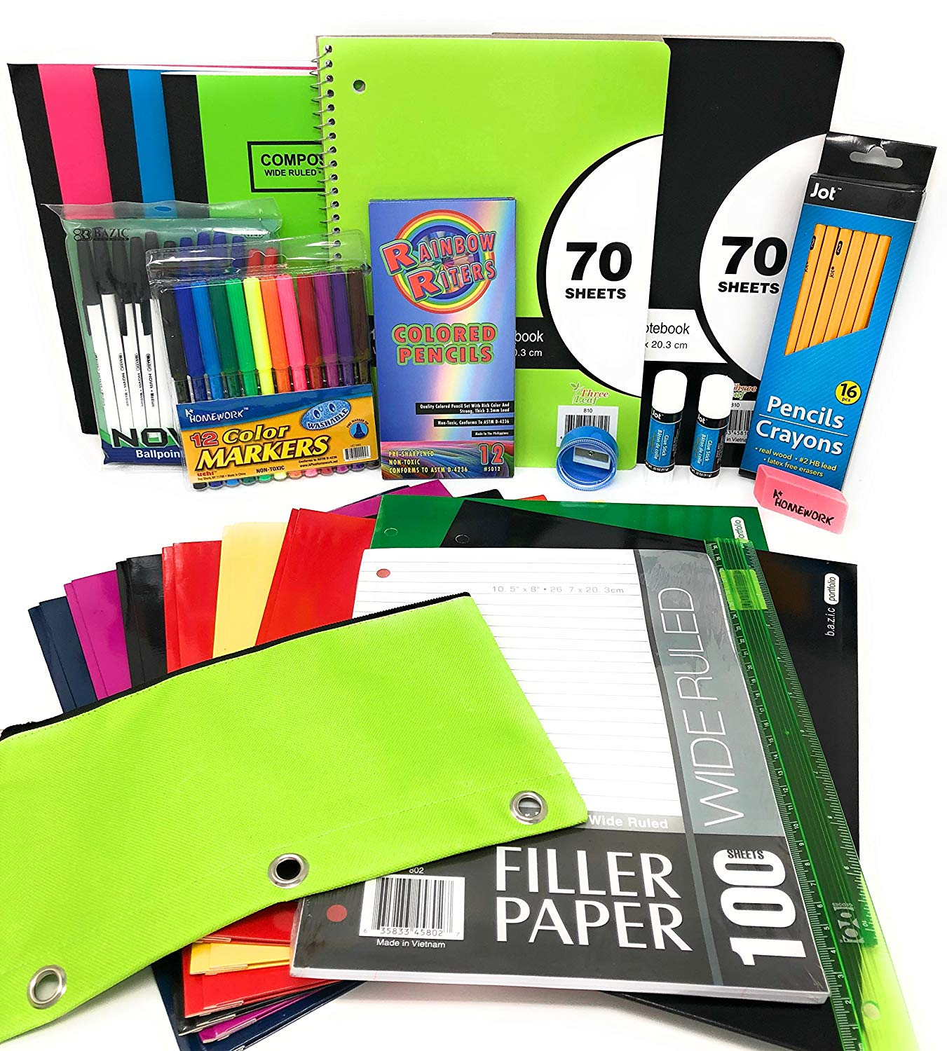 Back to School Bundle for 6th Grade to High School Supplies Set, Junior Senior High School Or College Essentials, School Supplies Packs for Boys and Girls, Office Supply Kit