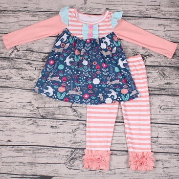 2018 Yawoo new kid clothing ruffled shoulder animals print tunic+stripe pants soft fabric for baby