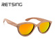 2017 zebra Women Cat Eye Wood Sunglasses with Mirror Polarized Lenses
