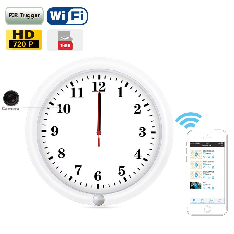 Small 10inch wall clock PIR detective 720p HD wifi app based wireless hidden ip camera