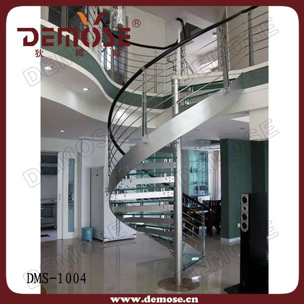 used spiral staircase with steel handrail | glass stairs price