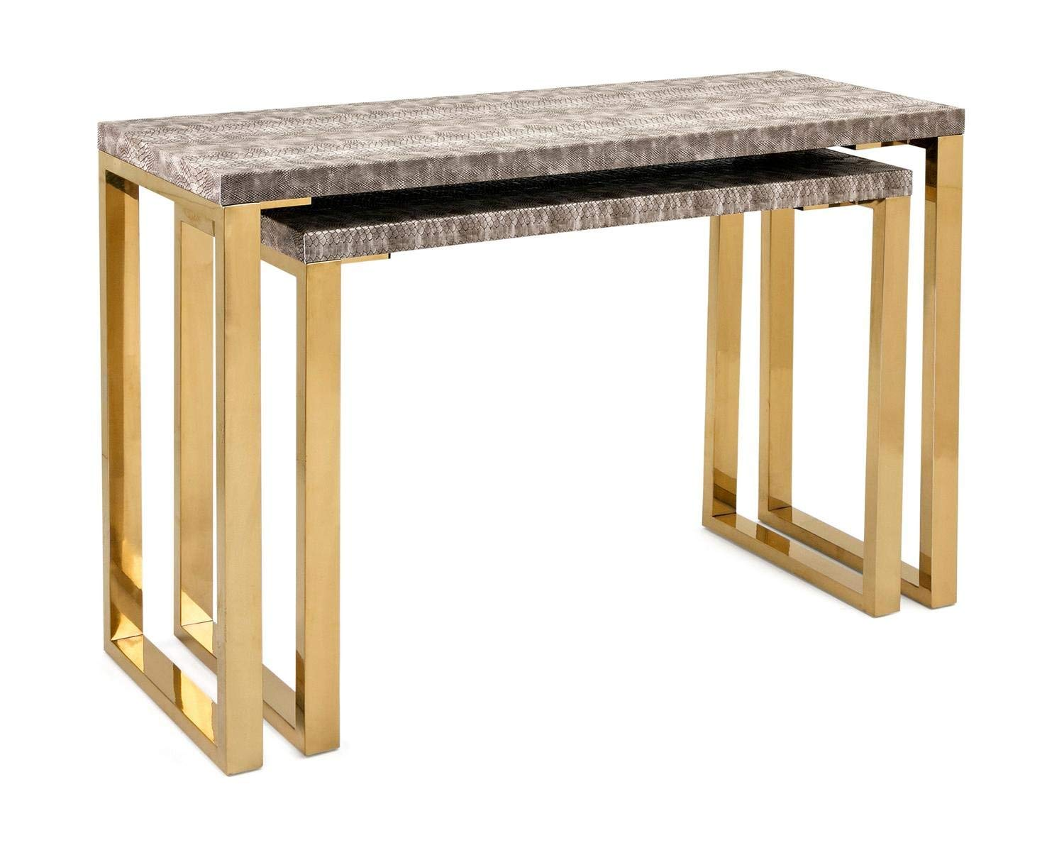 Cheap 2 leg console tables find 2 leg console tables deals on line get quotations cc home furnishings set of 2 brown and golden colored rectangular console tables 39 watchthetrailerfo