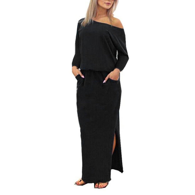 6259764edf Get Quotations · Ruhiku GW Women Dress, Summer Long Maxi Boho Evening Party  Dress Off Shoulder Side Split