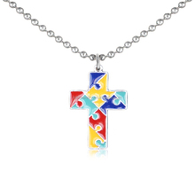New Autism Puzzle Cross Back Engraved Lord Protect Me, And Keep Me Safe Pendant Necklace