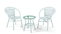 Elegant Design PE Rattan Coffee Table and Chair Set, Comfortable Garden Dining Table Set.