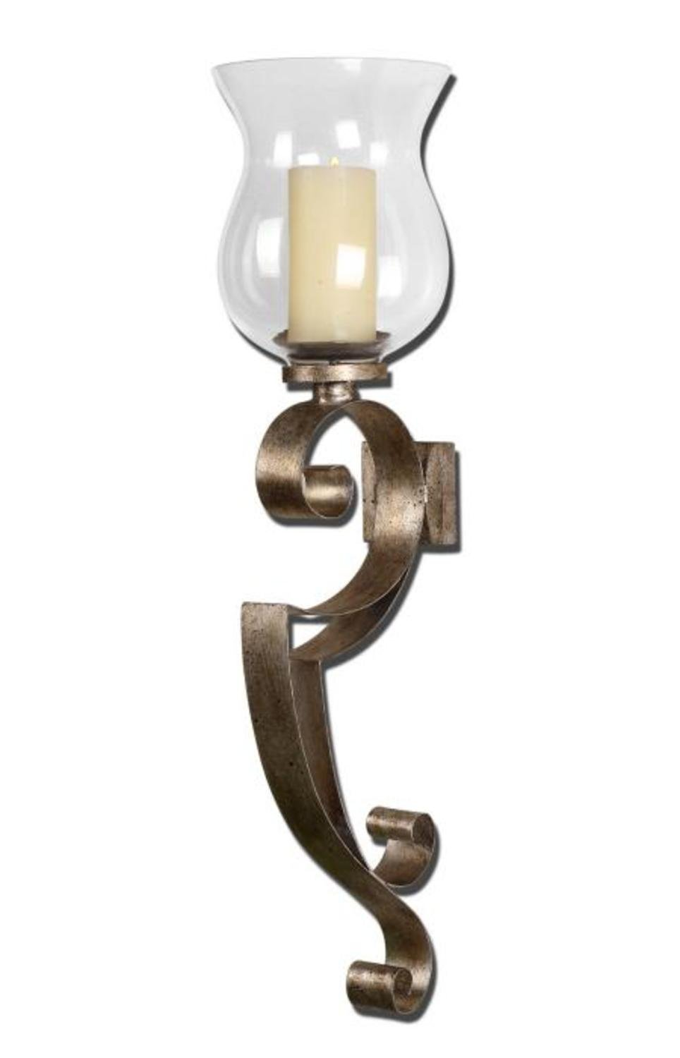 Get Quotations 23 Antiqued Silver Champagne Hurricane Candle Holder Wall Sconce With