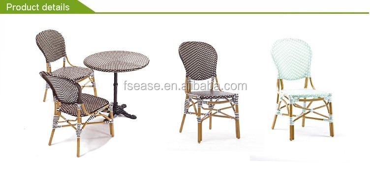 French style synthetic rattan cafe restaurant furniture 3 piece bistro set