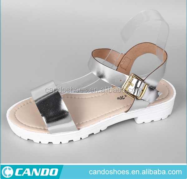 2017 Stylish Girls Shoes Pu Flat Ladies Sandals