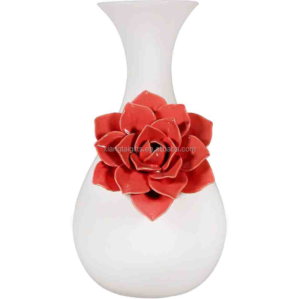 Decoration Ceramic Home Decor Flower Tall Vase with Coral Flower Home Decor
