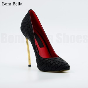 BBLA465 pointed toes women shoes metallic high heel snake leather pumps 2018 ladies leather shoes