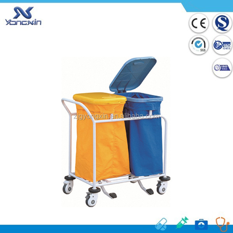 YXZ-016C stainless steel hospital linen garbage trolley solid waste trolleys price