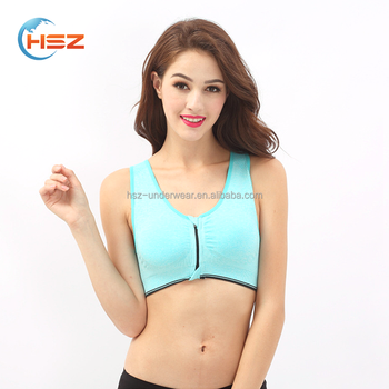 Hsz-0855 Good Quality European Seamless Nursing Bra front zipper Removable padded sports Bras