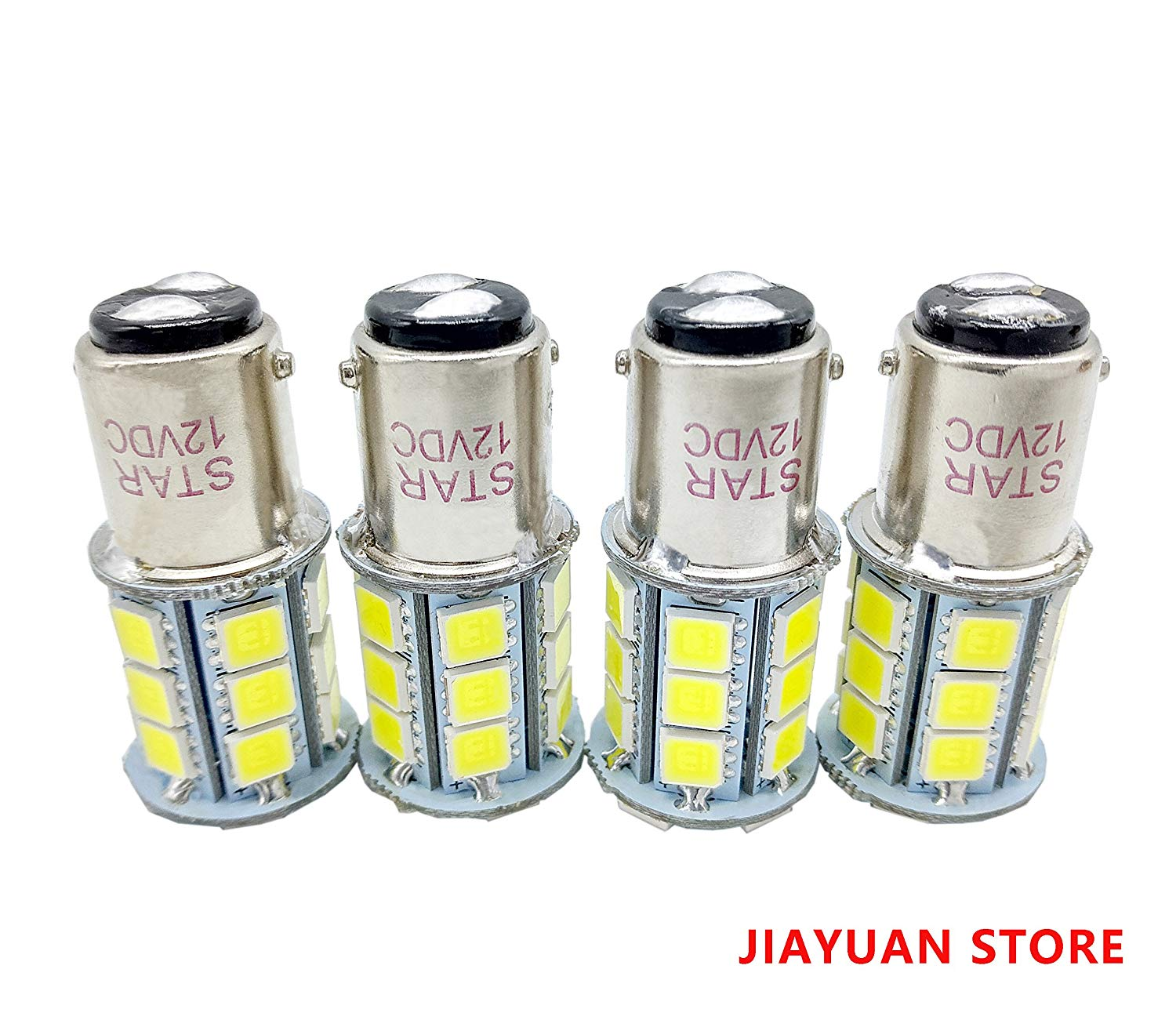 JIAYUAN 4 x BA15D 24 SMD 1076 1142 68 90 1004 1130 1158 1176 1178 Motorcycle LED Bulbs Replacement for Marine Boat RV, Voltage DC12V, White 6000K