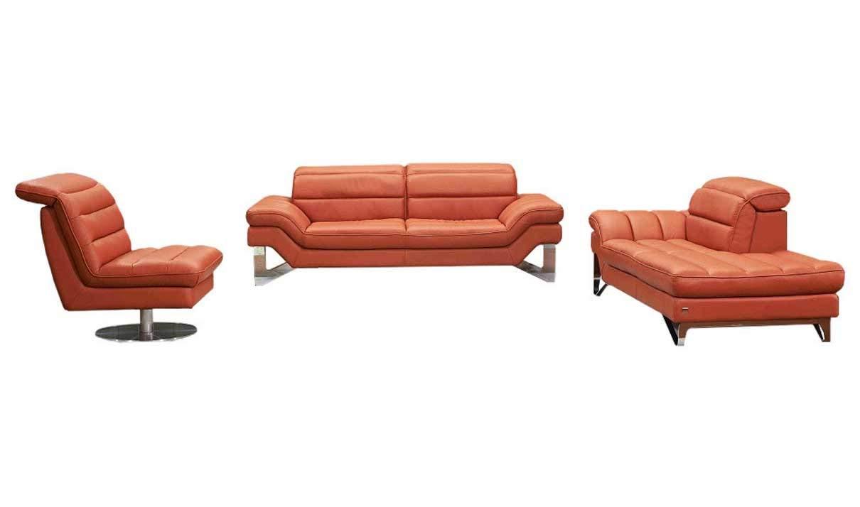 J&M Furniture Astro 3-Piece Italian Leather Living Room Set in Pumpkin