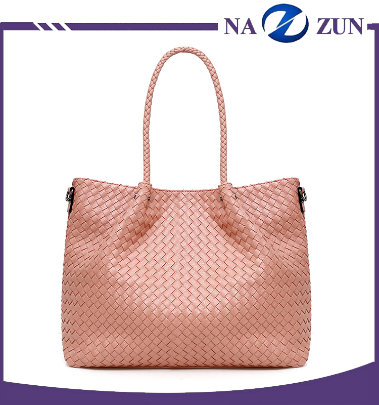 New Fashion Hand Knitting Bolso De Las Mujeres PU Weave Leather Detachable Lady Shoulder Bags