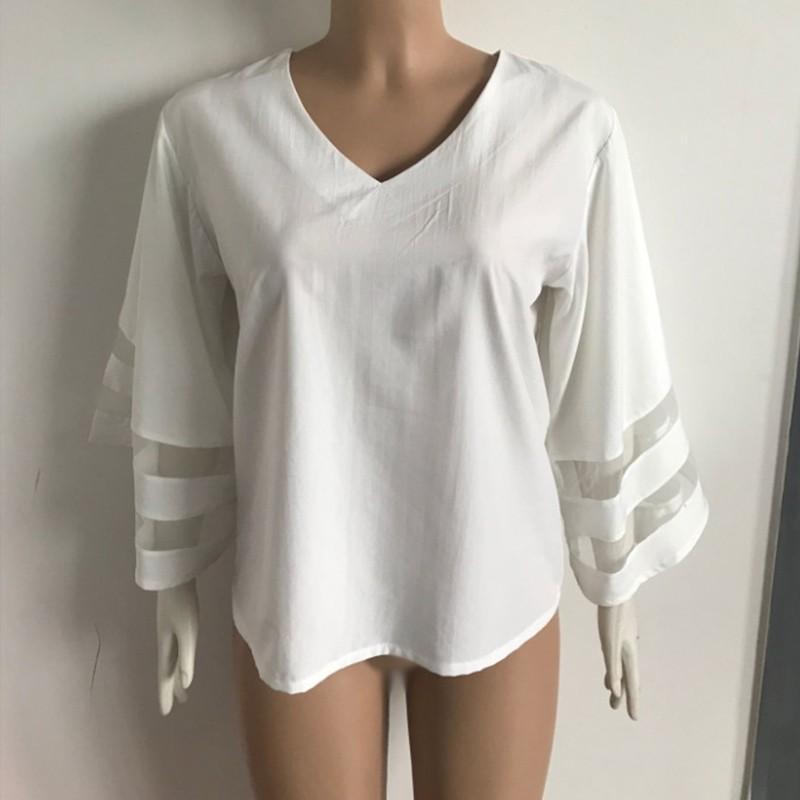 Compre 2018 Feminino Sexy V Neck Solto Chiffon Blusa Saia Das ... 9bcc1b6f04734