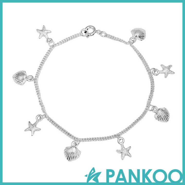 Shell Starfish Nautical Sea of Life Charm Bracelet Sterling Silver