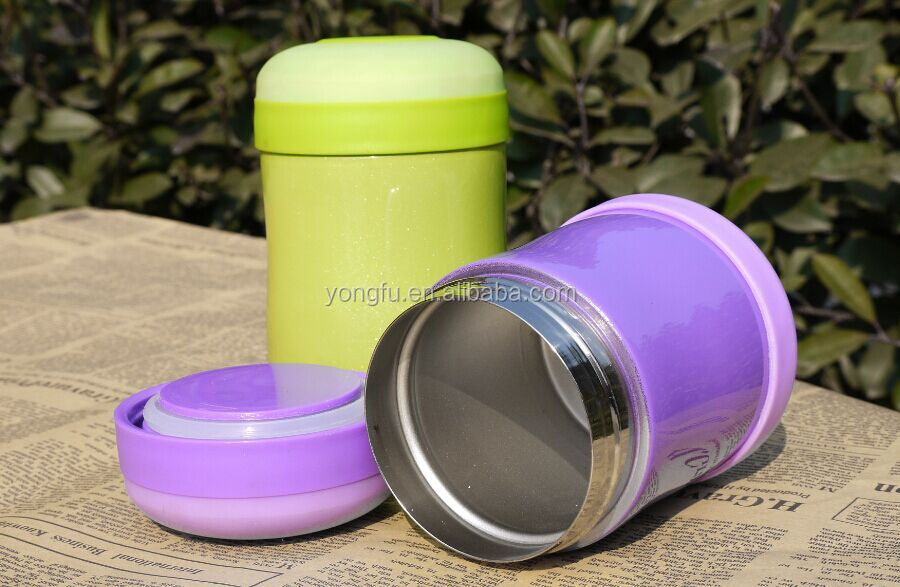 stainless steel and plastic thermos vacuum flask lunch jar