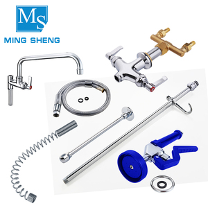 Deck Mounted Brass Body Pull Out Flexible Hose UPC 61-9 NSF Commercial Kitchen Pre Rinse Unit Faucet