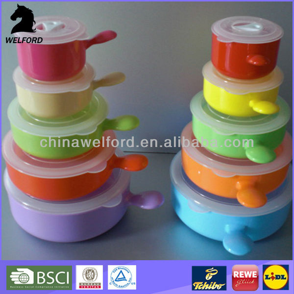 Good price microwave bowl colorful bowl with lid handle food containers