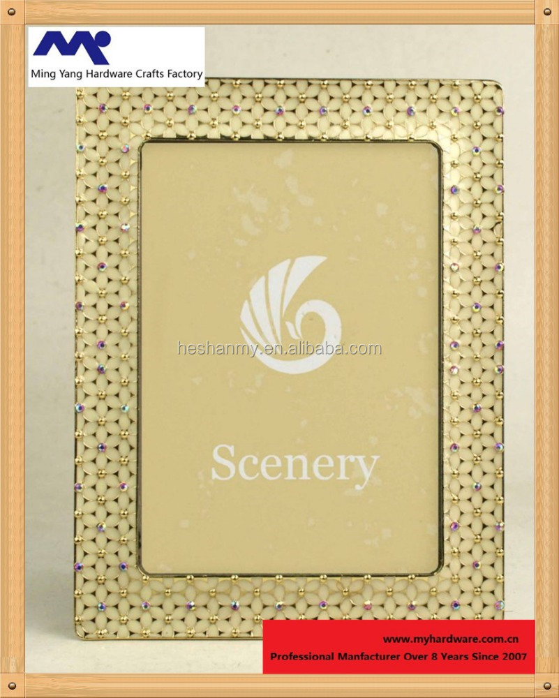 Contemporary Enamel floral jeweled metal embossed picture frame