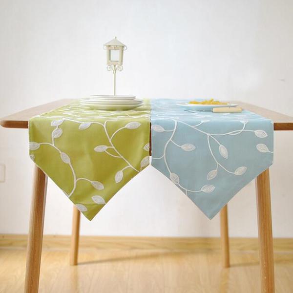 Pastoral estilo de alta-grade de algodão tecido de linho corredor da tabela bordado