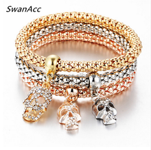 Fashion Gold Color Crystal Skull Bracelet & Bangle 3 PCS/Set Charm Luxury Love Anchors Heart Women Bracelet Gift