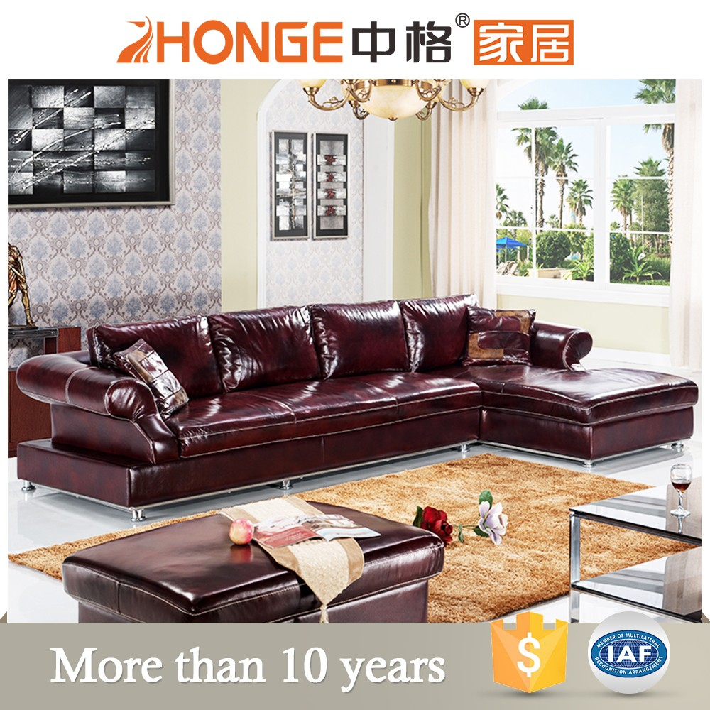 New Style Drawing Room Modern Home Furniture Leather Corner Sofa Set