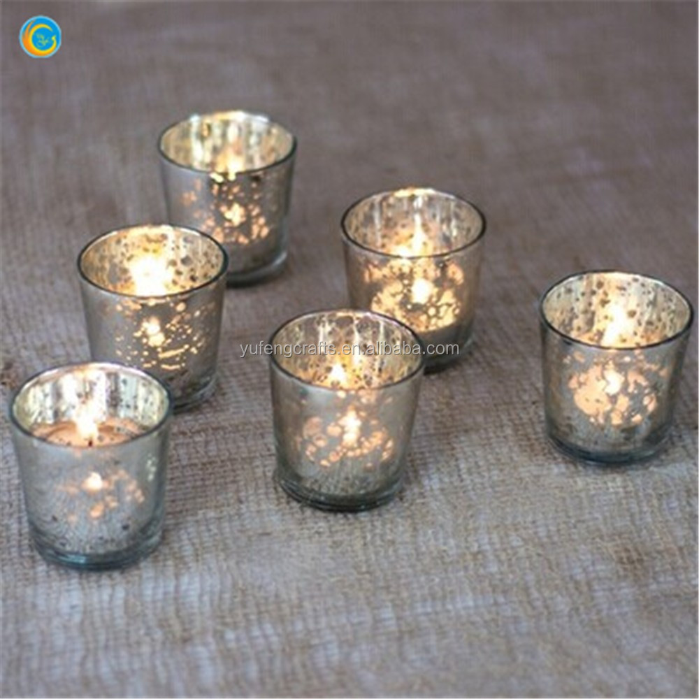 Gold Silver Mercury Glass Candle Holder
