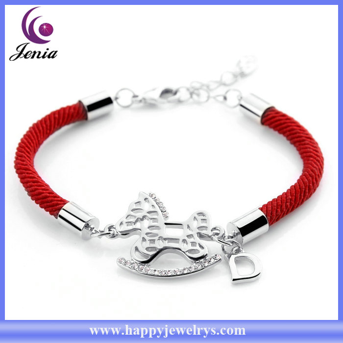 Red rope handmade bracelet with lucky horse shaped wholesale friendship bracelets (YWH4863-2)
