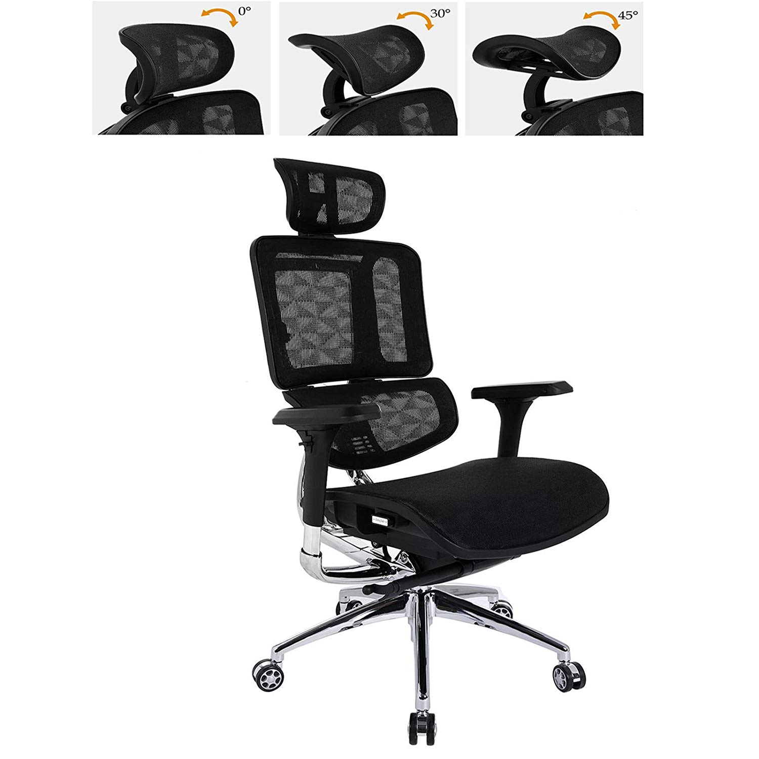 Kaluo Ergonomic Adjustable Drafting Chair Black-High Back Office Chair Mesh Stool Chair with Armrests-Headrest Height & Angle, Backrest, Chair Height Adjustment
