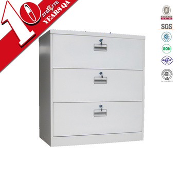 Metal Long Wide 3 Drawer Pedestal File Cabinet / Low Lockable 3 Drawer  Cabinet