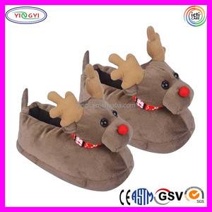 C304 3D Deer Lovers Warm Cute Animal Slippers Dress Shoes Christmas Soft Touch Shoes for Women