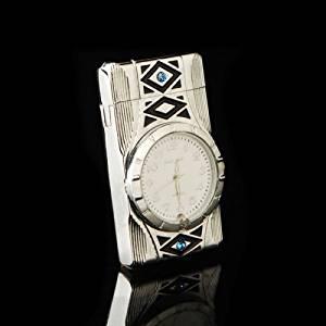 Multifunction Cigarette Lighter Silver Quartz WristWatch Watch For Men, Windproof Jet Torch Flame Butane Gas Lighter