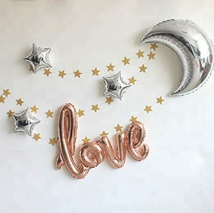 Love Star Moon Large Size Foil Balloons Air Filled Helium Balloon for Party Show Performance Wedding Baby Baby Shower Decor