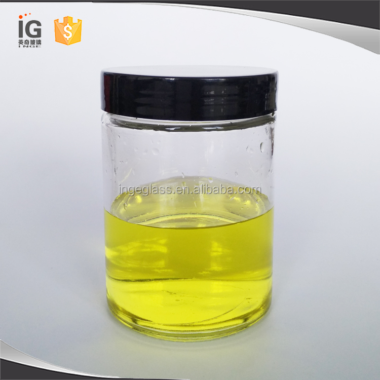 Wholesale Cheap Glass Round Glass Honey Jars with Black Screw Lid