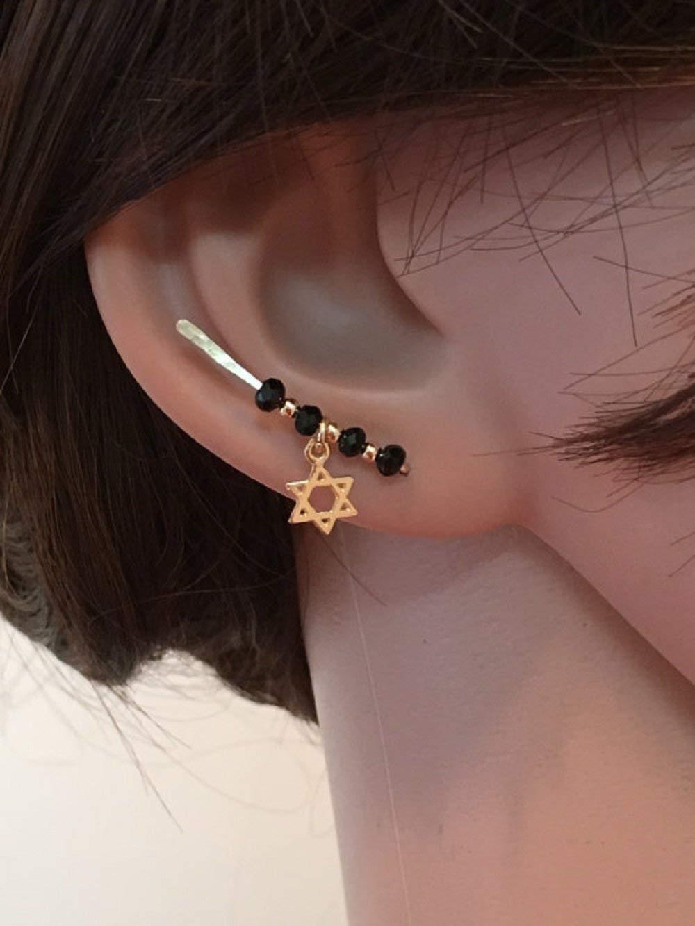 d44b1c3f3 Get Quotations · FloweRainboW Magen David Ear Climber x1, hammered earring, earring  pins, earring climbers,