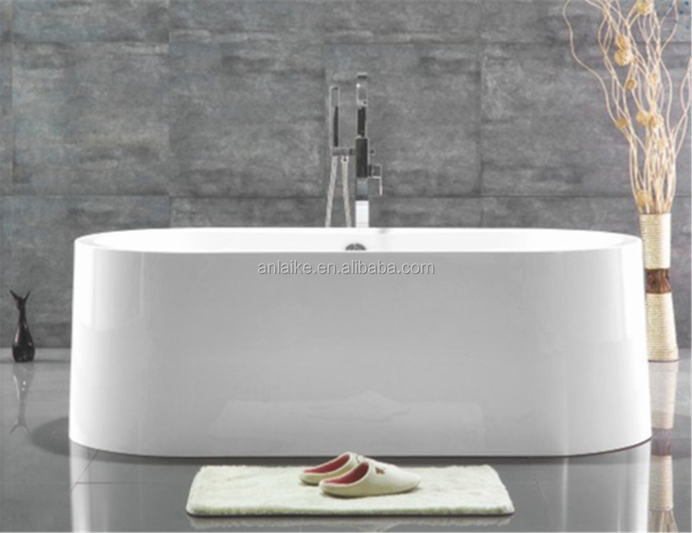 1700mm wide edge big oval slipper shaped european style removable bath over-flow faucet vertical back to wall surround bathtub