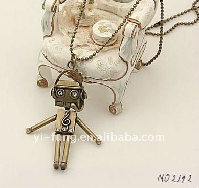 wholesale lovely Robot necklace.fashion jeweon jewelry necklace.Alloy jewelry.fashion jewelery. Hot~ Super value~~