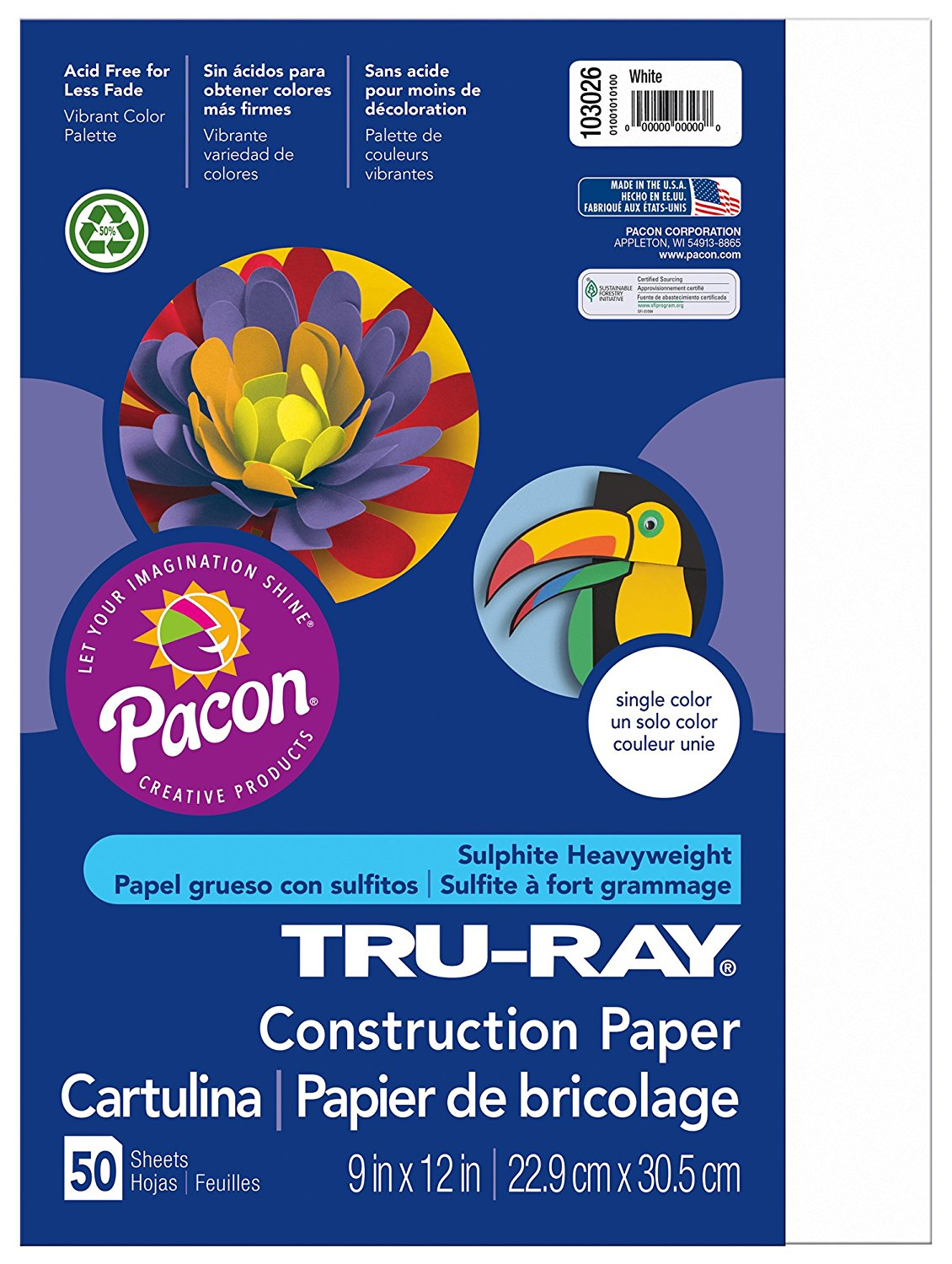 Pacon Tru-Ray Construction Paper, 9-Inches by 12-Inches, 50-Count, White (103026)