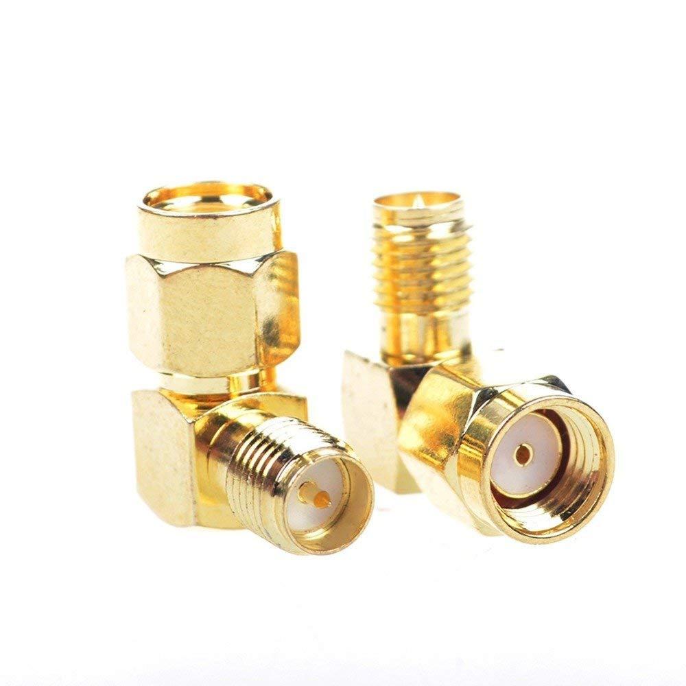 ALLISHOP 2Pcs RP-SMA Male Plug to RP SMA Female Jack RF Coax Adapter Convertor Right Angle 90-Degree SMA Connector