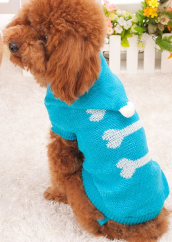 Jacquard Bone Pattern Hooded Machine Easy Knit Dog Sweater - Buy ...